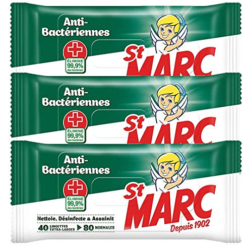 St Marc Lingettes Nettoyantes et Antibactériennes - 40 Lingettes Extra-Larges - Lot de 3