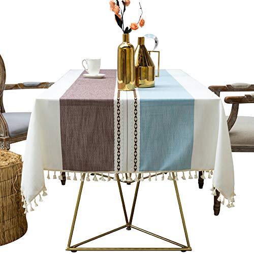 N / A Hong Lei Mantel con flecos de algodón y lino a prueba de polvo, mantel de cocina, decoración de mesa