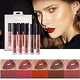 Mimore Líquido Pintalabios Traje,kit de maquillaje de Glaseado de labios aterciopelado de 5 colores Impermeable Duradero Brillo de labios Taza antiadherente Esmalte de labios Sexy Colors (02)