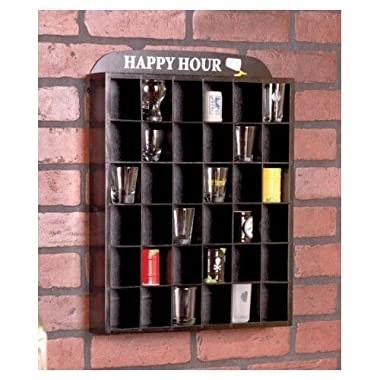 Happy Hour Shot Glass Display Case Shelf Wall Curio, No Door