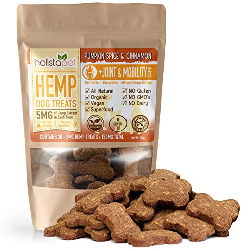 HolistaPet Hemp Dog Treats - Joint & Mobility Care - 30 Crunchy Treats - 150mg - Made in USA - Powerful Relief with Hemp Oil Turmeric & Boswellia - 100% Organic - for Hips & Joint Pain, Inflammation
