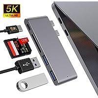 """MOKAI START Hub USB C, Adaptador Tipo C Hub Slim Thunderbolt 3 de Aluminio para MacBook Pro 2019/2018/2017/2016 13""""y 15"""", MacBook Air 2019/2018 13"""", 2 Puertos USB 3.0, 1 Lector de Tarjetas SD y 1 TF"""