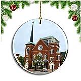 Weekino Iglesia de Montgomery Alabama Estados Unidos Decoración de Navidad �rbol de Navidad Adorno Colgante Ciudad Viaje Colección de Recuerdos Porcelana 2.85 Pulgadas