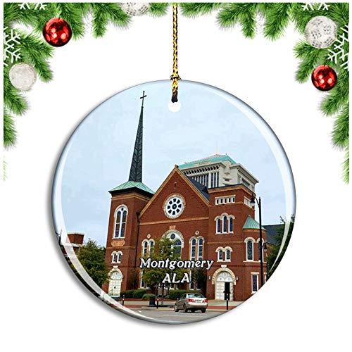 Weekino Montgomery Church Alabama USA Christmas Ornament Xmas Tree Decoration Hanging Pendant Travel Souvenir Collection Double Sided Porcelain 2.85 Inch