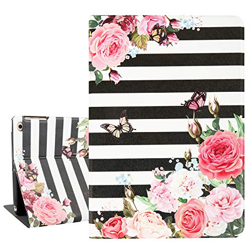 Hepix Pink Flowers iPad Air 2 Cases with Butterfly Floral iPad Case 9.7', Lightweight Protective iPad 5th / 6th Gen Case, Slim PU Leather Multi Angles Stand for iPad 9.7 2018/2017