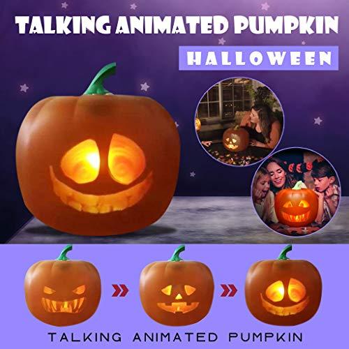 Musommer Talking Animated Pumpkin Halloween Talking Projector & Speaker 3-in-1 LED Pumpkin Animated Projection Lamp