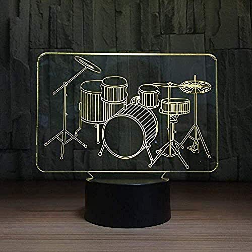 Zeichentrickfiguren Nachtlicht Creative 7 Color 3D Visual LED Nachtlicht Trommel Rack Form Tischlampe USB Baby Schlaflampe Instrument Geschenk Schlafzimmer Dekoration Kreative Animation Lampe