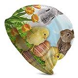 Happy Easter Bunny Chick Beanie Hat Skull Cap Turban élastique pour Hommes et Femmes