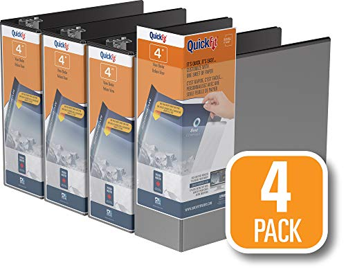 QuickFit View Binder, 4 Inch, Locking Angle D Ring, Black, 4 Pack (87061-04)