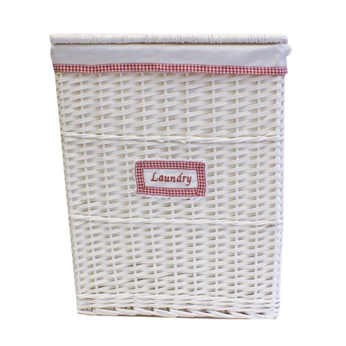 JVL Gingham Lined Wicker Linen Washing Clothes Laundry Basket, Red/White, 57 x 45 x 32 cm
