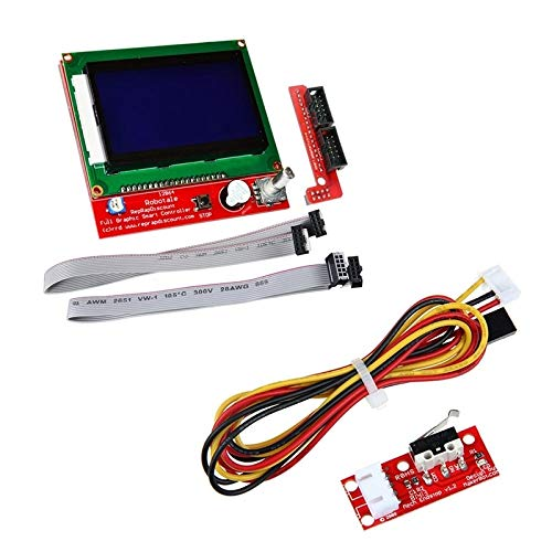DTOYZ LCD 12864 Graphic Smart Display Controller Module With Connector Adapter & Cable/Fit For - RepRap/RAMPS 1.4 3D Printer Kit Red & 3D Pr