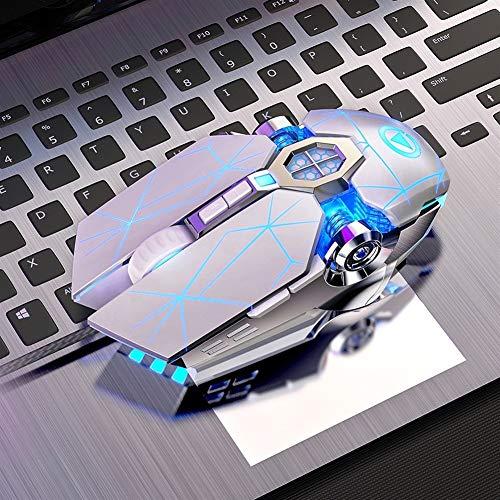 ZNYD New Professional Gaming Mouse Filaire mécanique Silent Mouse 3200dpi 7 Boutons de la Souris Soutien Informatique Macro Backlit Définition (Color : White Mute)