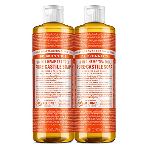 Dr. Bronner's - Pure-Castile Liquid Soap (Tea Tree, 16 ounce, 2-Pack) - Made with Organic Oils, 18-in-1 Uses: Acne-Prone Skin, Dandruff, Laundry, Pets and Dishes, Concentrated, Vegan
