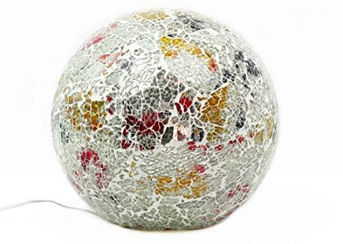 Beleuchtete Mosaikkugel silber aus farbigem Glas gefertigt Durchmesser 15 cm