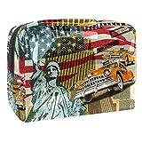 TIZORAX Bolsa de cosméticos para mujer, diseño vintage de Nueva York, para artículos de tocador, bolsa grande de PVC, con cremallera