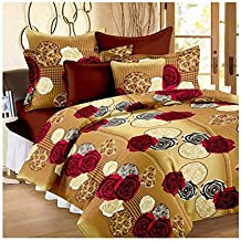Tanishka Fabs 100% Cotton Double BedSheet for Double Bed with 2 Pillow Covers Set, Queen Size Bedsheet Series, 140 TC, 3D Printed Pattern