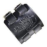 Bracelet Scorpion - Bracelet Manchette Sangle en Cuir avec Signe du Scorpion - Taille Ajustable et agréable à Porter. (Noir)