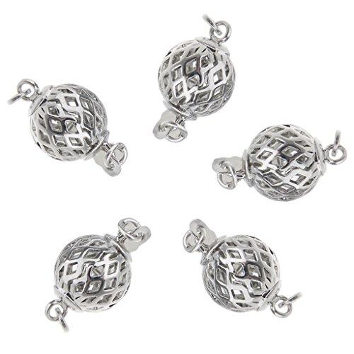 Sharplace 5 Stücke Schmuckverschlüsse Silberschmuckschließen für Armband, Halskette, Kette Herstellug - Hohlkugeln