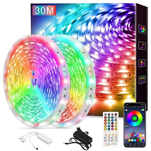 LED Strip, LED Streifen mit Bluetooth 5050 RGB Farbwechsel LED Lichterkette mit Steuerbar via App LED Beleuchtung 30m für Haus, Party, Küche