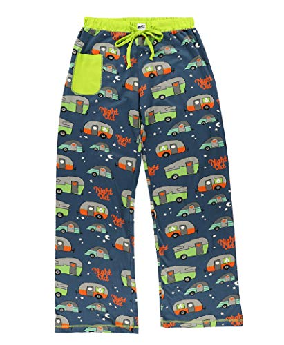 Lazy One Fitted Pajamas for Women, Cute Pajama Pants and Top Set, Separates, Camp Trailer, Camping (Night Out, X-Large)