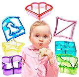 Hofumix Sandwich Cutter Bread Cutter Shapes Cookie Cutters Crust Cutters DIY Vegetable Cutters Maker Mould for Kids Cookie with Butterfly, Dinosaur, Dog, Heart, Puzzle, Star, Square, 7pcs