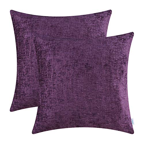 CaliTime Pack of 2 Cozy Throw Pillow Covers Cases for Couch Sofa Home Decoration Solid Dyed Soft Chenille 16 X 16 Inches Plum Purple