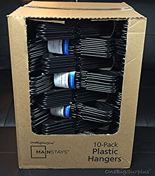 Lot 100 Mainstays Plastic Tubular Slotted Black Adult Clothing Clothes Hangers