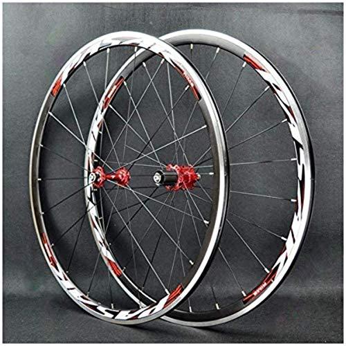 ZSY Wheels Road bike wheelset 700C bike front wheel rear wheel 30mm double-wall alloy wheel bike wheelset Quick release BMX wheels V brake 7-11 speed (Color : E)