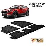 MYD Juego de alfombrillas de goma para Mazda_CX-3O 2015 en adelante. Alfombrillas de goma para todas las estaciones (delantera y trasera). Protección resistente (negro)