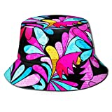 XCNGG Sombrero de Cubo de Flores de Colores Brillantes Gorra de Pescador Unisex Sombrero de Sol...