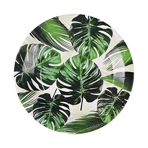 Read About Cieovo 24 PCS Tropical Green Palm Leaves Party Plates Disposable Party Paper Plates Table...