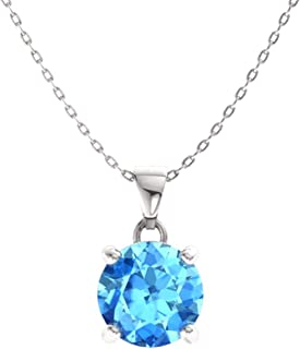 Natural and Certified Gemstone Solitaire Petite Necklace in 14k White Gold | 0.40 Carat Pendant with Chain