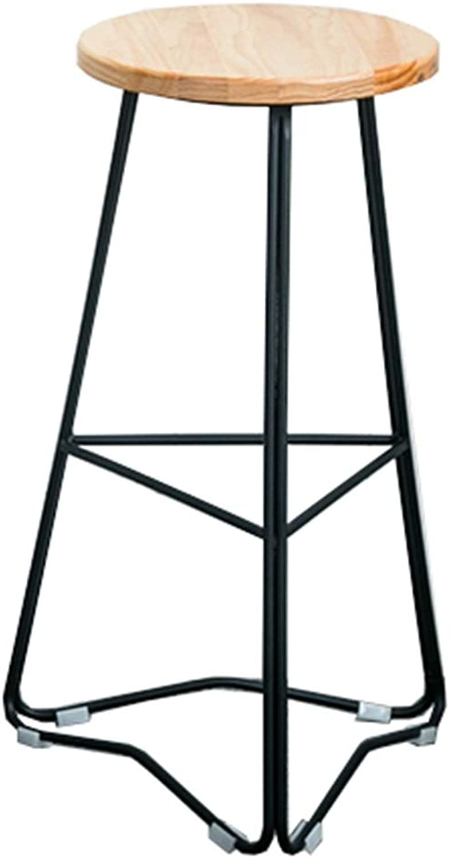 LJFYXZ Bar Stool Kitchen Breakfast Stool Round Wooden seat Counter Chairman High Stool Metal Leg Bearing Weight 200kg Seat Height 45 65 75cm (Size   65CM)