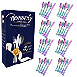 Rainbow Silverware Set Colorful Stainless Steel flatware Dinnerware Set, Colored Tableware Set for 8, 40 piece flatware Set Service for 8, Mirror Finish Multicolor Cutlery Set (rainbow 40)