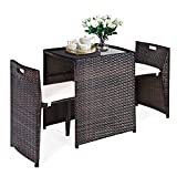 CASART 3 Piece Rattan Garden Furniture Set, Patio Wicker Conservatory Set with Tempered Glass Table and Chairs, Indoor Outdoor Sofa Dining Bistro Set for Balcony Backyard Poolside Terrace