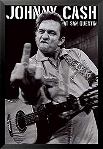 FRAMED Johnny Cash (Middle Finger) At San Quentin 36x24 Music Art Poster Print Guitar famous black and white