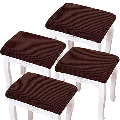 Debruyne 4 Pieces Elastic Rectangle Bar Stool Covers Jacquard Chair Seat Slipcovers Counter Stool Cover Saddle Seat Covers Washable for Wooden Metal Bench (Coffee)
