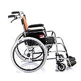 CHenXy Silla de Ruedas Aleación de Aluminio Silla de Ruedas Plegable Portátil, pequeño, Antiguo, Carrito de Viaje Manual, Carga 100 kg Un Respaldo Ajustable y el Pedal, balancín