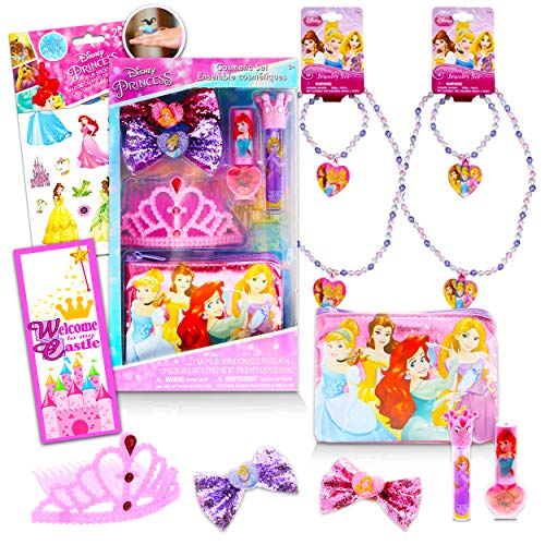 Disney Princess Accessories and Jewelry Super Set ~ 10 Pcs Hair Nail Accessories Bows Nail Polish Jewelry Necklace Bracelets for Dress Up with Reward Stickers (Disney Princess Party Supplies Bundle)