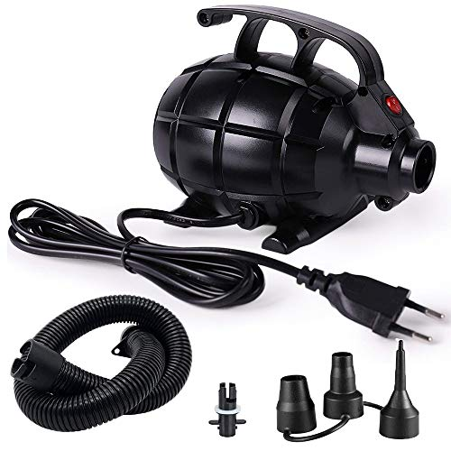 KKmoon 600 W Bomba de aire eléctrica con 3 boquillas, bomba eléctrica para barcos hinchables, camas de aire, globos, etc.