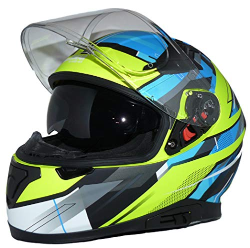 Protectwear Moto Casque 917-BG Casco Integral de Motocicleta Solar integrada y Visera Plegable 917-BG-L, Unisex-Adult, Azul Verde, Large