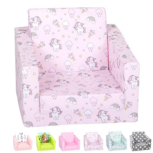 DELSIT Toddler Chair & Kids Sofa - European Made Children's 2 in 1 Flip Open Foam Single Sofa, Toddler Fold Out Chair, Kids Couch, Comfy Flip Out Lounge (Unicorns and Rainbows Pink)