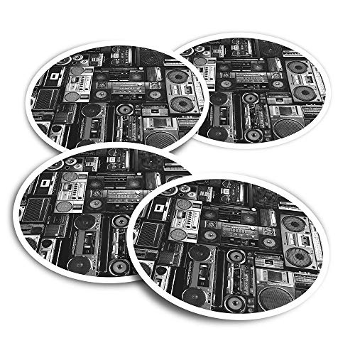 Pegatinas de vinilo (juego de 4) 10 cm – BW – Radios Cassette Player Retro Music Fun Calcomanías para ordenadores portátiles, tabletas, equipaje, reserva de chatarra #36180
