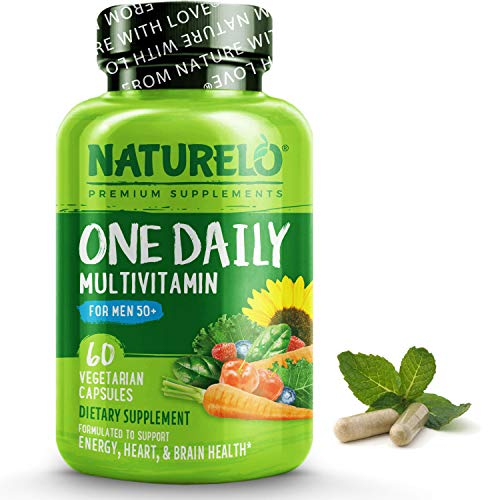 NATURELO One Daily Multivitamin for Men 50+ - with Vitamins & Minerals + Organic Whole Foods - Supplement to Boost Energy, General Health - Non-GMO - 60 Capsules   2 Month Supply