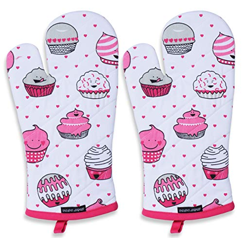 CASA DECORS Oven Mitts, Valentine Cup Cakes Design, Oven Mitts Heat Resistant, Made of 100% Cotton, Eco-Friendly & Safe, Set of 2, Size 7 x 13 Inches, Machine Washable, Kitchen Oven Mitts