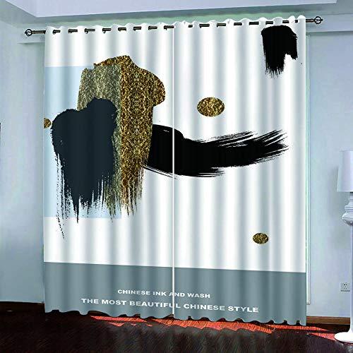 ZJZWLW Cortina para Habitación Opaca Y Térmica Aislante, 3D Arte Abstracto Dorado Cortinas De Ojales Dormitorio Moderno Elegante Blackout Curtain Suave para Ventanas De Habitación 200X180Cm