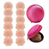 Silicone Nipple Covers, Rifny Nipple Covers for Women Reusable Adhesive Invisible, 6 Pairs Nippleless Pasties with Travel Case (3 Round+3 Flower)