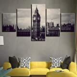 DBFHC Cuadros Modernos Impresión De Imagen Artística Digitalizada Londres Blanco Y Negro Lienzo Decorativo para Salón O Dormitorio 5 Piezas XXL