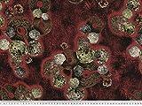 ab 1m: Viskosedruck, herbstlliche Blätter, rot-braun,