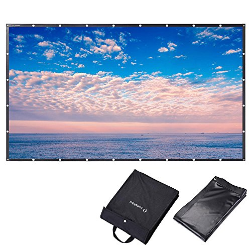 """Instahibit 150"""" 16:9 Portable Front Projection Screen Foldable PVC 3D 4K HD with Holes Home Theater Yard Camping"""